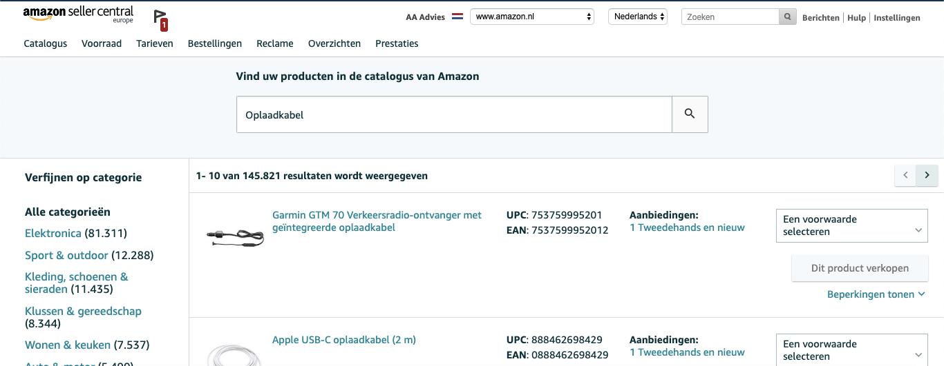 Bestaand product toeveoegen aan Amazon