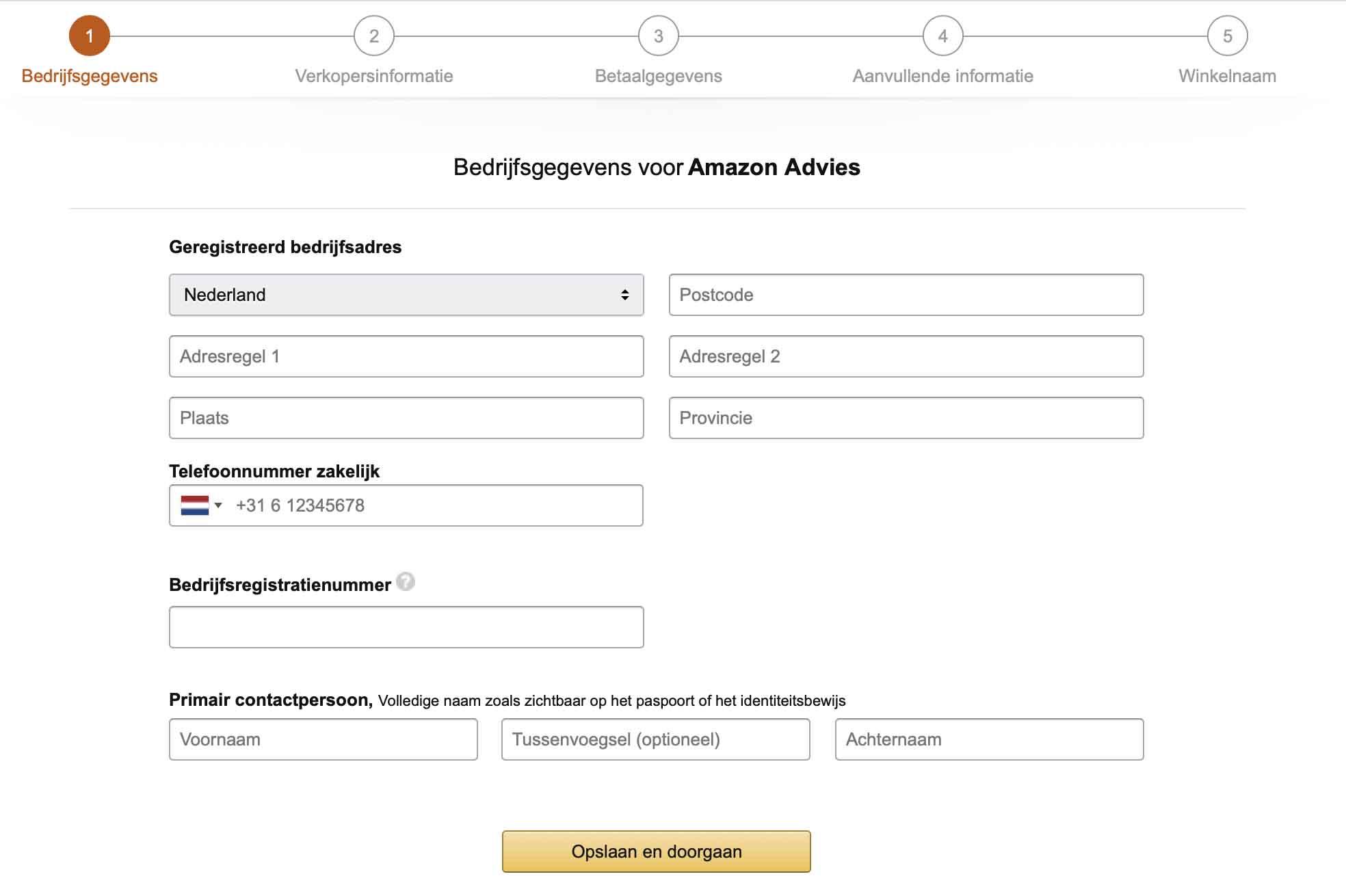 invullen bedrijfsgegevens Amazon